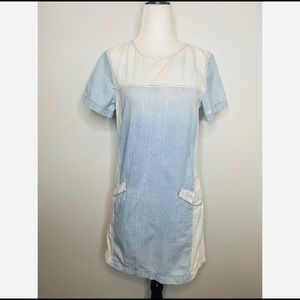BDG Denim and White Distressed Contrast Dress